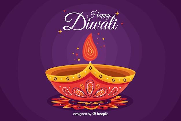 Glückliche diwali festival-hintergrundhand gezeichnet