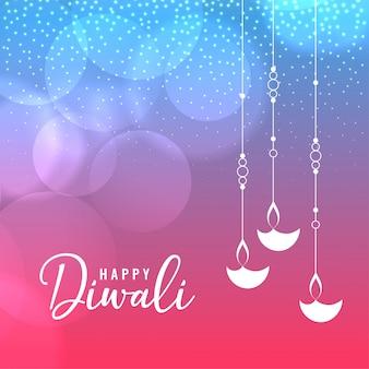 Glückliche diwali festivalgrußschablone mit hängendem diya