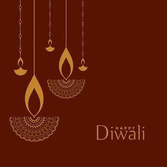 Glückliche diwali festivalillustration der flachen dekorativen art
