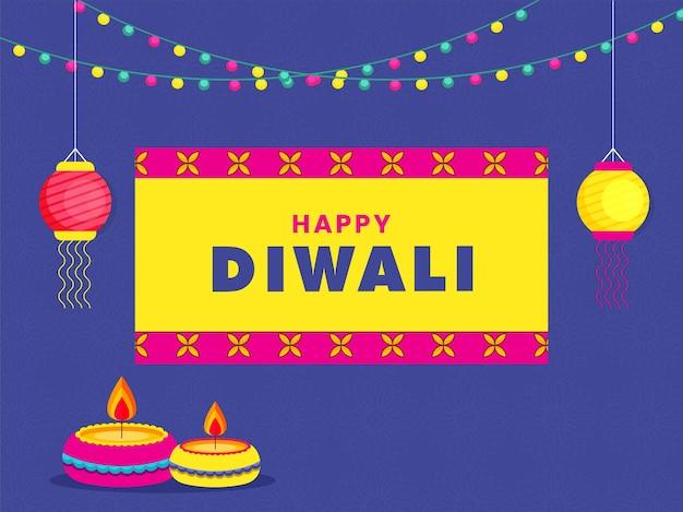 Glückliche diwali-grußkarte mit beleuchteten öllampen (diya) und laternen hängen auf blauem mandala-muster-hintergrund.