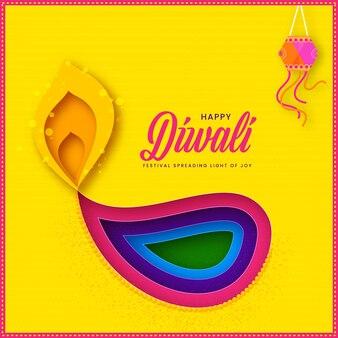 Glückliche diwali-grußkarte mit buntem scherenschnitt brennen öllampe (diya) und hängender laterne auf gelbem hintergrund.