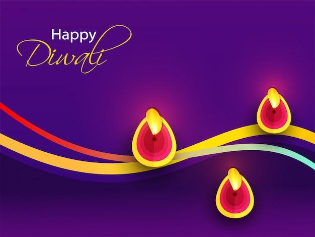 Glückliche diwali-grußkarte mit der draufsicht der belichteten öllampe (diya) verziert auf purpur.