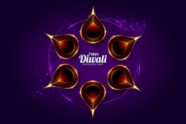 Glückliche diwali grußkarte mit einem dunklen purpurroten hintergrund