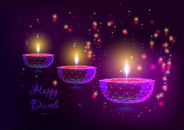 Glückliche diwali-grußkarte mit glühenden festivallichtern.