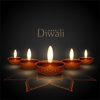 Glückliche diwali grußkarte mit realistischem diya entwurf