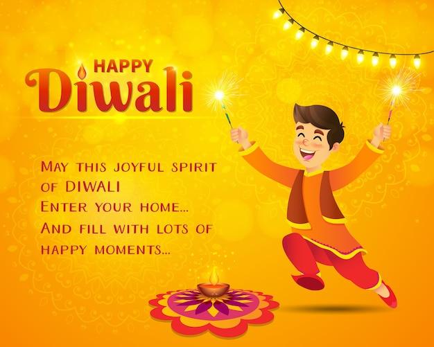Glückliche diwali grußkarte. netter indischer junge der karikatur in der traditionellen kleidung, die springt und spielt