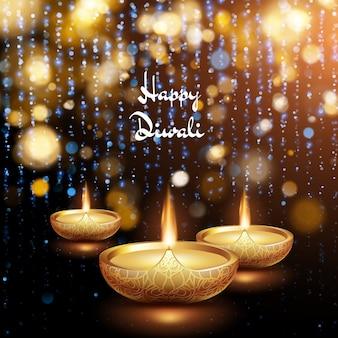 Glückliche diwali illustration der brennenden diya. urlaubshintergrund.