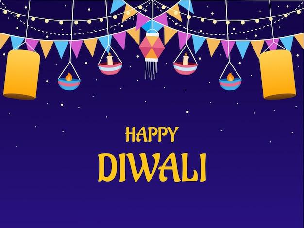 Glückliche diwali-illustration mit hängender laternenlampe und bunter flagge