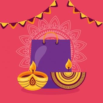Glückliche diwali-karte mit einkaufstasche und kerzen