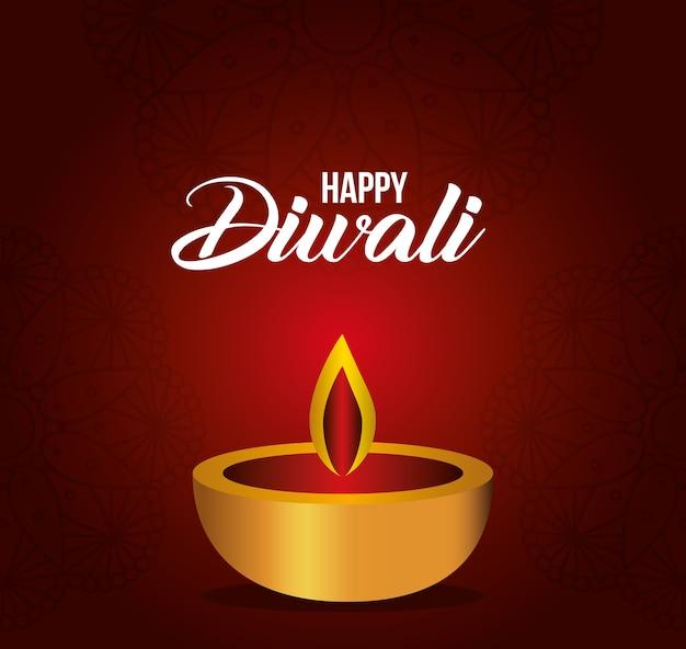Glückliche diwali-kerze auf rotem hintergrundentwurf, festival der lichterthema