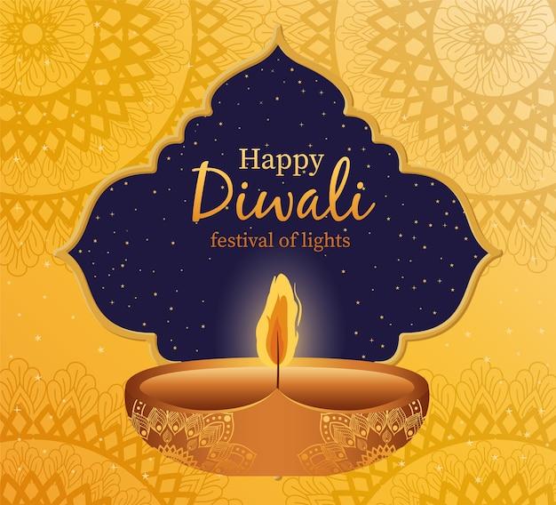 Glückliche diwali kerze mit rahmen auf gelb mit mandalas hintergrunddesign, festival der lichter thema