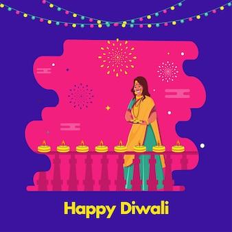 Glückliche diwali-konzeptillustration