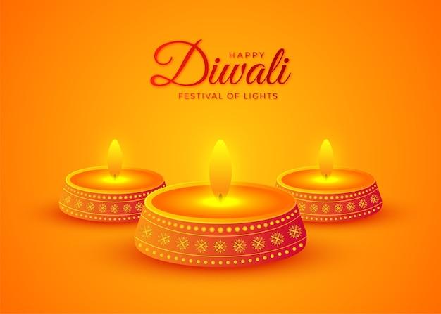 Glückliche diwali öllampe, die auf gelbem hintergrund brennt