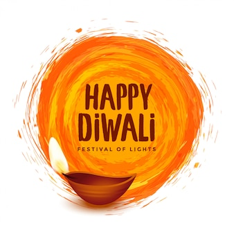 Glückliche diwali orange aquarellfestivalillustration