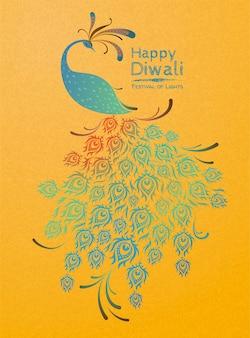 Glückliche diwali-pfau verheißungsvolle illustration auf chromgelbem hintergrund