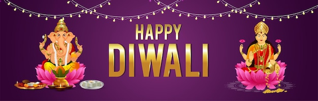 Glückliche diwali-vektor-illustration mit lod ganesha und göttin laxami feier banner