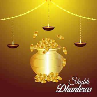 Glückliche diwali-vektorillustration des goldmünzentopfes mit lotusblume