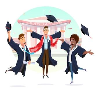 Glückliche doktoranden, die das studienende feiern
