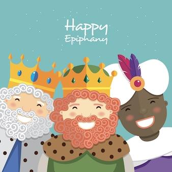 Glückliche drei könige, die auf einem grünen hintergrund lächeln