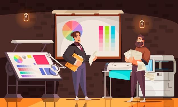 Glückliche druckereiarbeiter, die gedruckte papiere im büro mit maschinen und farbpaletten-karikaturillustration halten holding