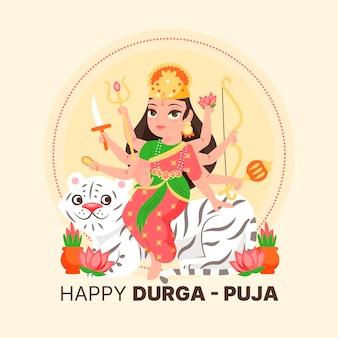 Glückliche durga-puja-frau mit acht armen