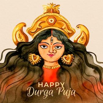 Glückliche durga-puja-hand gezeichnet