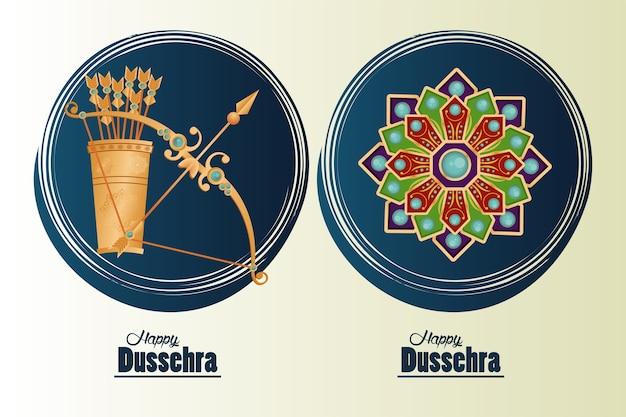 Glückliche dussehra-feierkarte mit bogen- und mandalarahmen.