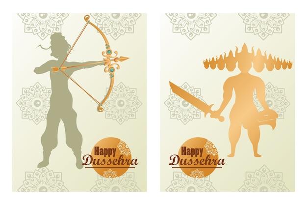 Glückliche dussehra feierkarte mit gott rama schatten und goldener ravana.