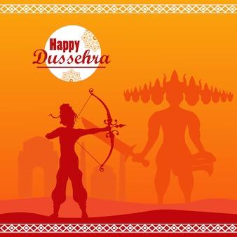 Glückliche dussehra feierkarte mit gott rama schatten und ravana.