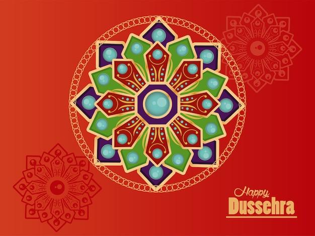 Glückliche dussehra-feierkarte mit mandalas im roten hintergrund.