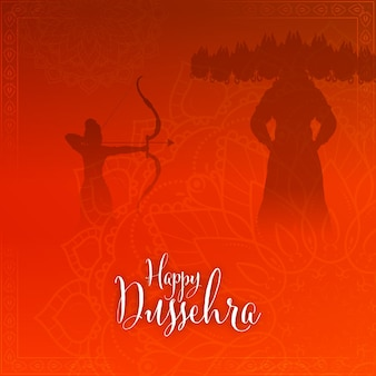 Glückliche dussehra-kalligraphie mit silhouette lord rama, die auf dämon ravana auf rotem mandala-muster-hintergrund zielt.