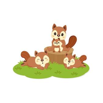 Glückliche eichhörnchenfamilienkarikatur.