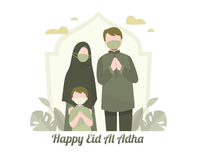 Glückliche eid al adha grüße mit muslimischer familienillustration