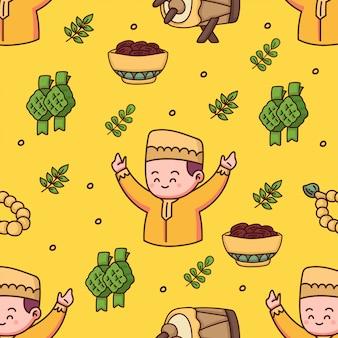 Glückliche eid mubarak hand gezeichnete illustration des islamischen nahtlosen musters