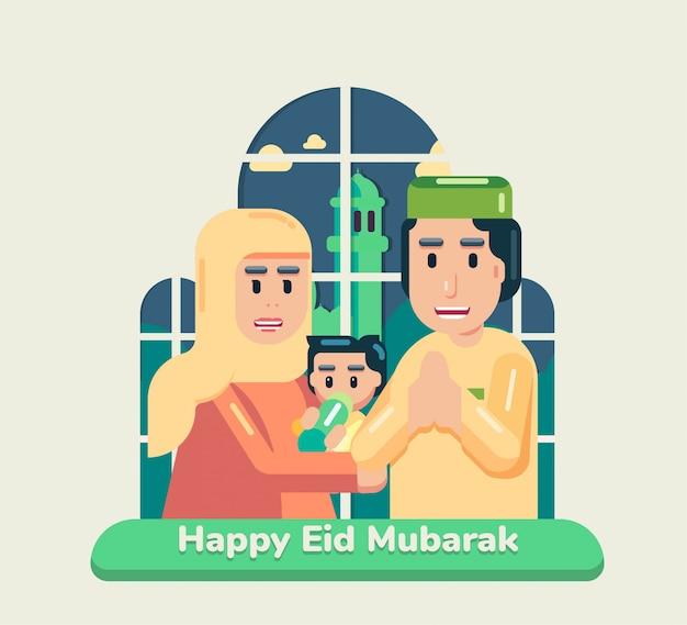 Glückliche eid mubarak idul fitri muslimische feiertagskonzeptfamilie, die vor fenster mit moschee eine begrüßung steht, während zu hause bleiben campain dirumahaja flat full square