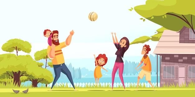 Glückliche eltern der aktiven familienferien mit kindern während des ballspiels im sommer im freien karikatur