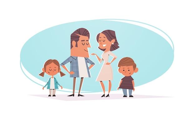 Glückliche eltern mit kindern, die freundliches familienkonzept horizontale illustration in voller länge zusammenstehen