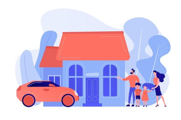 Glückliche eltern mit kindern und einfamilienhaus. einfamilienhaus, einfamilienhaus, einfamilienhaus und einfamilienhauskonzept. isolierte illustration des rosa korallenblauvektors