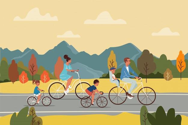 Glückliche eltern und kinder, die fahrräder auf asphaltstraße während reise in der herbstlandschaftsillustration reiten