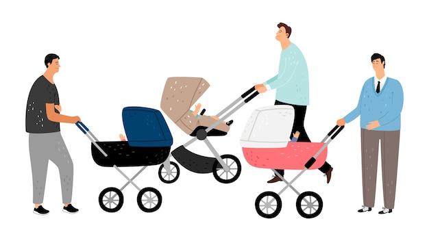 Glückliche elternschaft. väter mit kinderwagen.