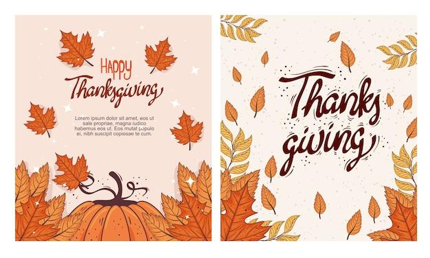 Glückliche erntedankfest-beschriftungskarte mit kürbis- und herbstblatt-illustrationsdesign