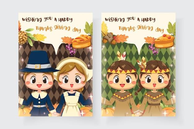 Glückliche erntedankfestkarte mit jungen und mädchen