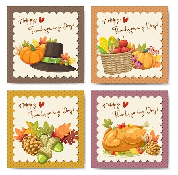 Glückliche erntedankfestkarte mit kürbis-apfel-mais und ahornblättern