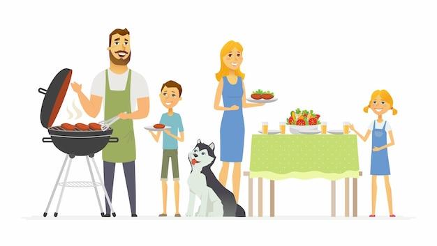Glückliche familie am grill - moderne zeichentrickfilm-figurenillustration lokalisiert auf weißem hintergrund. ein bild von einem ehemann, der gegrilltes fleisch zubereitet, und einer mutter, die essen serviert, kinder, die den eltern helfen