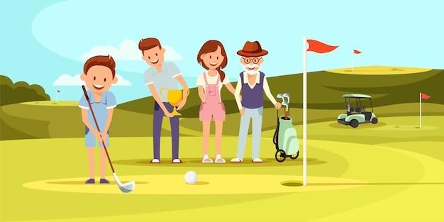 Glückliche familie auf dem golfplatz, der golf spielt