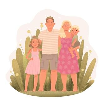 Glückliche familie auf dem hintergrund von pflanzen mama papa sohn und tochter in der natur dorfleben