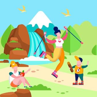 Glückliche familie auf flacher karte der picknick-tätigkeit im freien