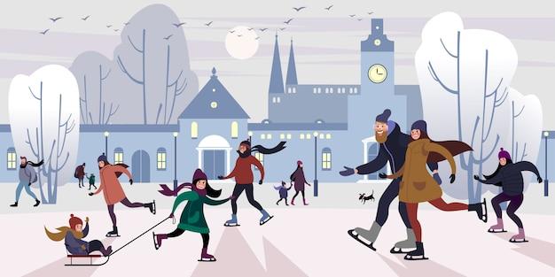 Glückliche familie auf freieneisbahn im im stadtzentrum gelegenen quadrat des winters. flache vektor-illustration.