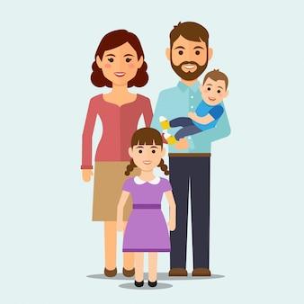 Glückliche familie auf getrenntem hintergrund
