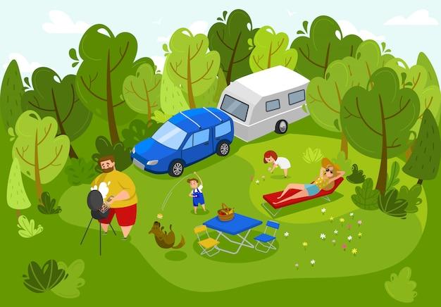 Glückliche familie auf picknick, sommerfreizeit im freien zusammen, leuteillustration